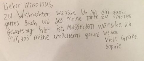 Sophies Brief an den Nikolaus