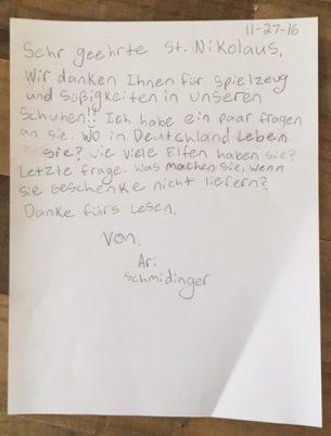 Aris Brief an den Nikolaus